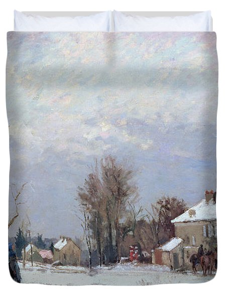 Effects Of Snow Duvet Cover by Camille Pissarro