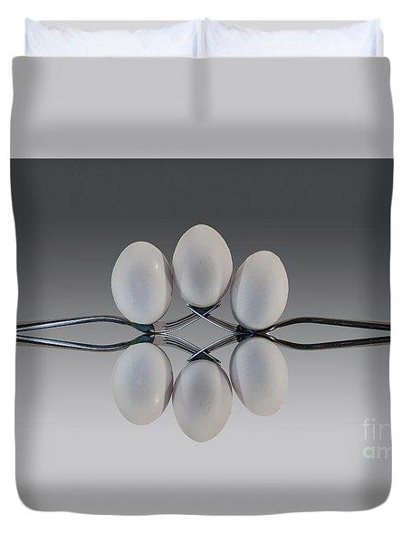 Egg Balance Duvet Cover by Shirley Mangini