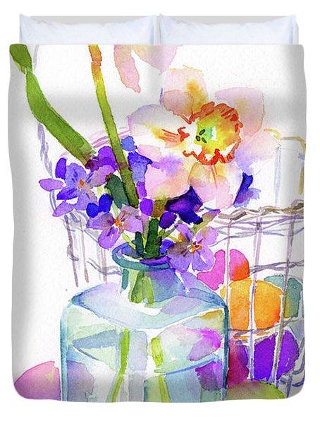 Egg Basket With Flowers Duvet Cover
