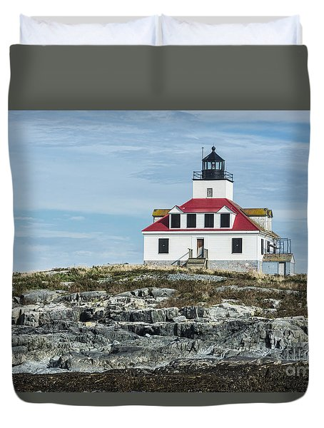 Duvet Cover featuring the photograph Egg Rock Lighthouse by Anthony Baatz