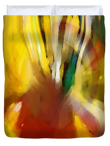 Duvet Cover featuring the digital art Egg Stop by Constance Krejci