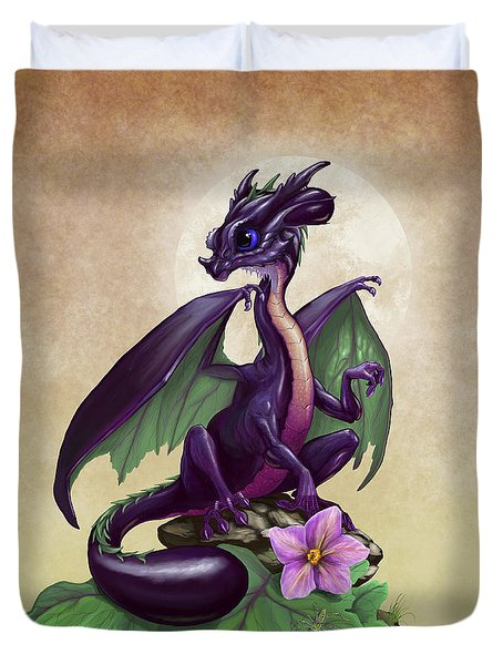Duvet Cover featuring the digital art Eggplant Dragon by Stanley Morrison