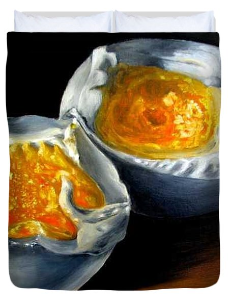 Eggs Contemporary Oil Painting On Canvas  Duvet Cover by Natalja Picugina