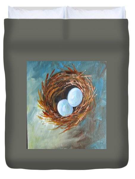 Eggs In A Nest Duvet Cover by Gloria Turner