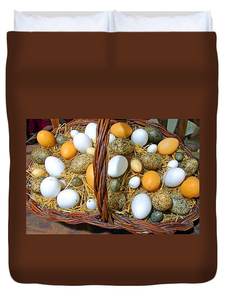 Eggs In All Sizes And Cool Colors Duvet Cover