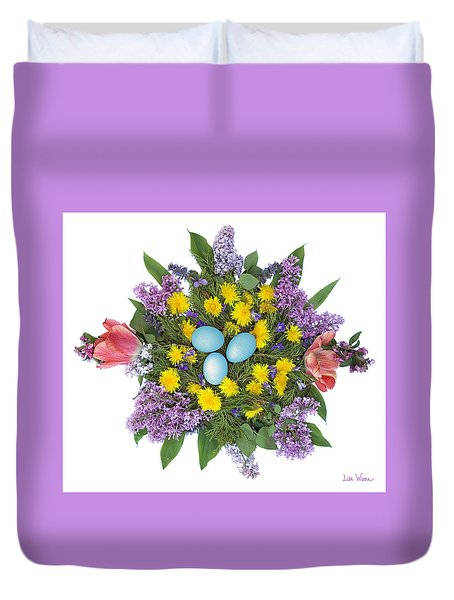 Eggs In Dandelions, Lilacs, Violets And Tulips Duvet Cover