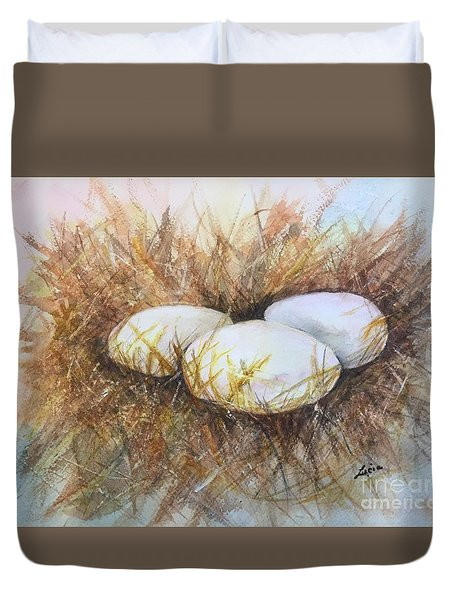 Duvet Cover featuring the painting Eggs On Straw by Lucia Grilletto