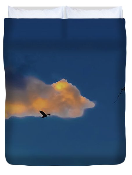 Egressing Egret Duvet Cover by DigiArt Diaries by Vicky B Fuller