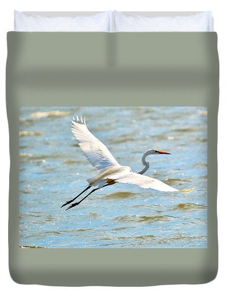 Egret Arms Wide Open Duvet Cover by William Bartholomew