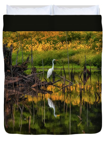 Egret Art  Duvet Cover