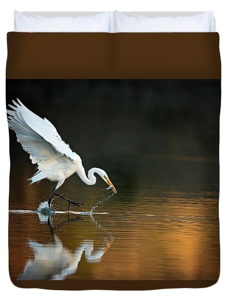 Egret At Sunset Duvet Cover