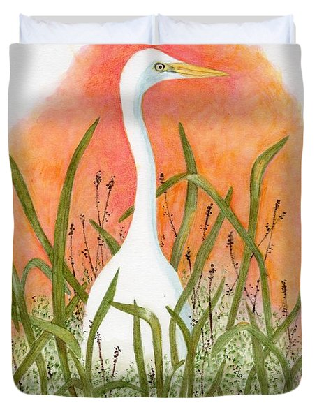 Duvet Cover featuring the painting Egret Color In Sunset by Peggy A Borel