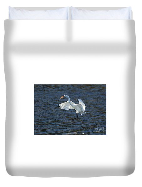Egret Fishing Duvet Cover