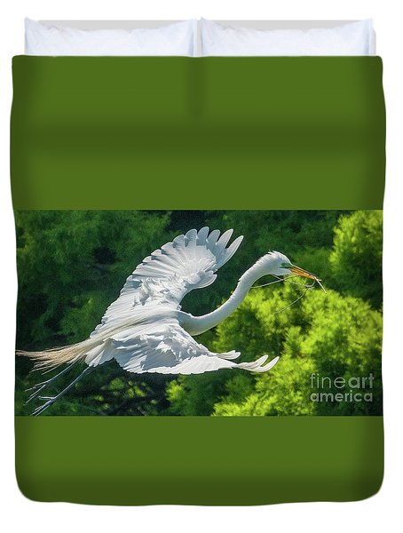 Egret Flying With Twigs Duvet Cover