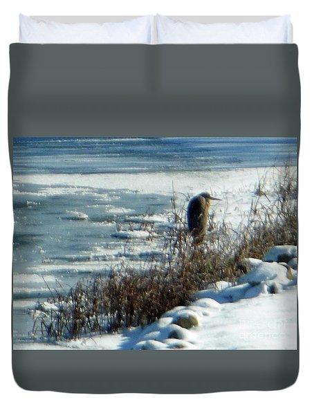 Egret Frozen Lake Duvet Cover