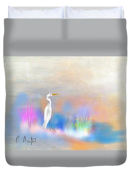 Egret Grace Abstract Duvet Cover