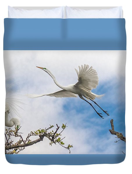 Duvet Cover featuring the photograph Egret Grace by Kelly Marquardt