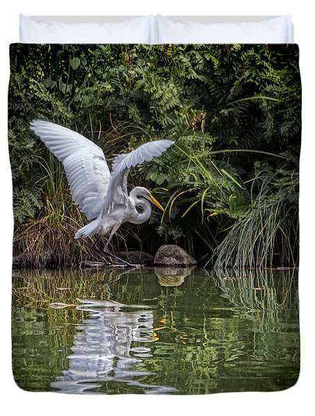 Egret Hunting For Lunch Duvet Cover