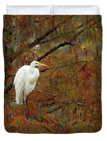 Egret In Autumn Duvet Cover