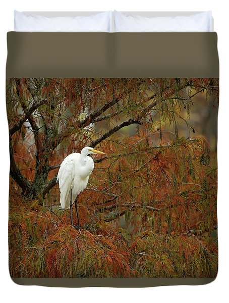 Egret In Autumn Duvet Cover