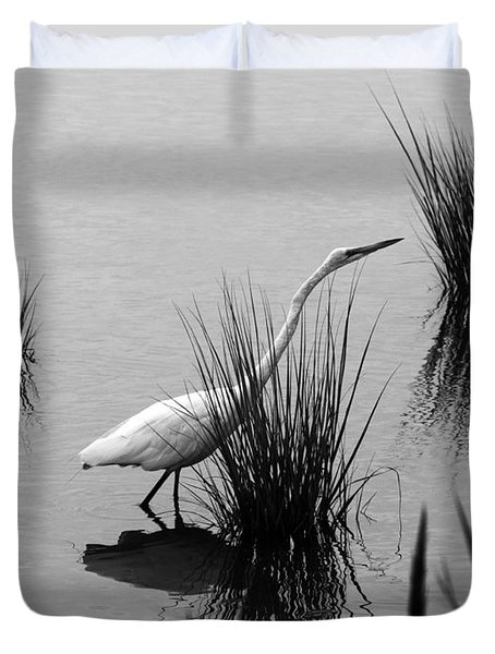 Egret In Black And White Duvet Cover