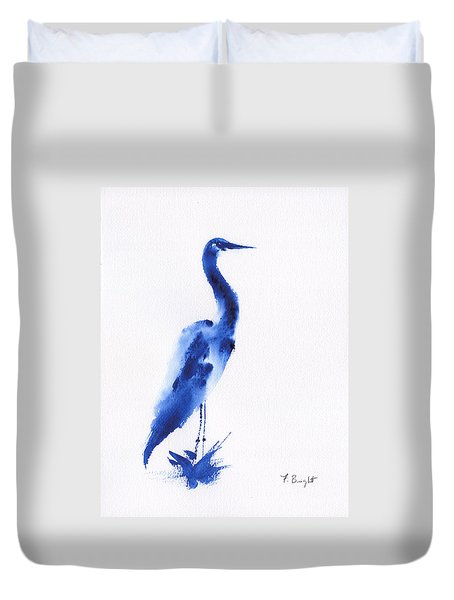 Egret In Blue 3 Duvet Cover by Frank Bright