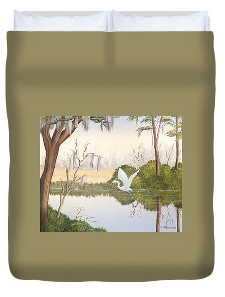 Egret In Flight 1 Duvet Cover