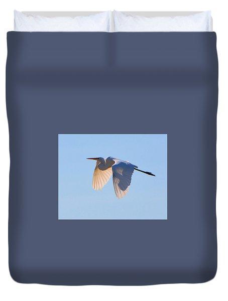 Egret In Silhouette Duvet Cover