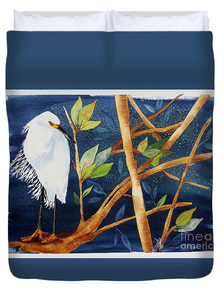 Egret In The Mangroves  Duvet Cover