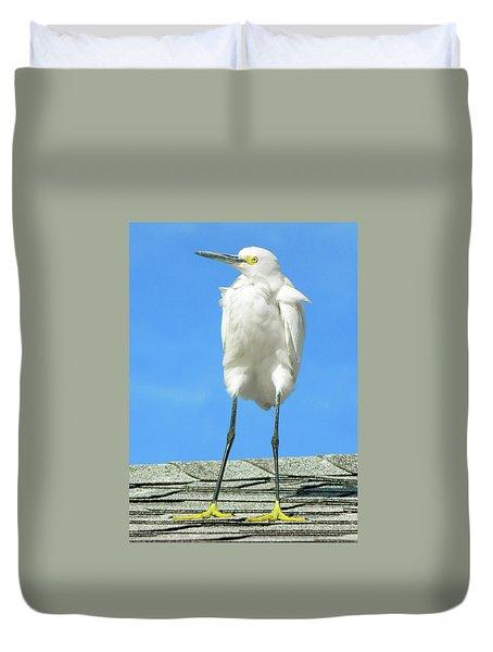 Egret Focused And Poised Duvet Cover