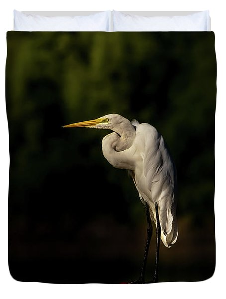 Duvet Cover featuring the photograph Egret On Deck Rail by Robert Frederick