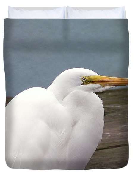 Egret On The Dock Duvet Cover by Al Powell Photography USA