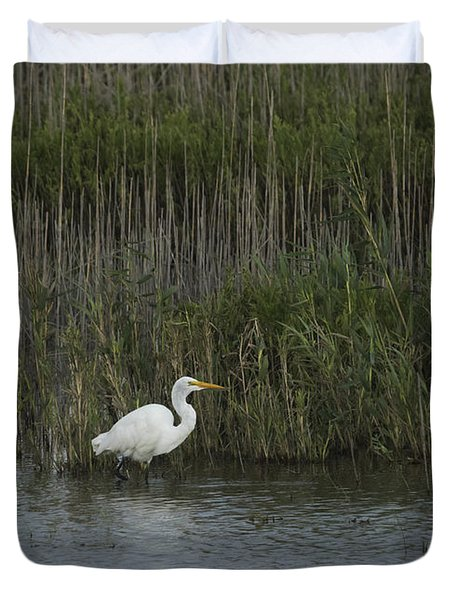 Egret On The Hunt Duvet Cover