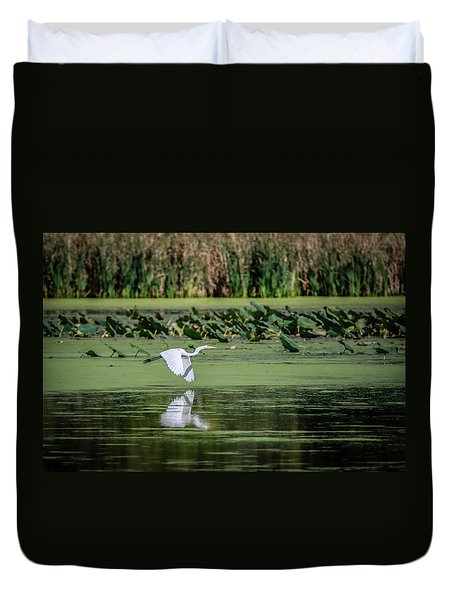 Egret Over Wetland Duvet Cover by Ray Congrove