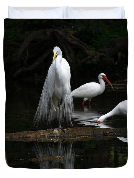 Egret Reflection Duvet Cover