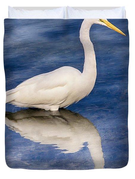Egret Reflection On Blue Duvet Cover