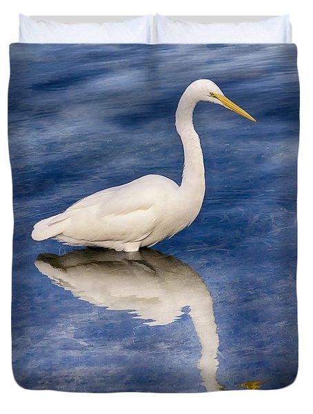 Egret Reflection On Blue Duvet Cover