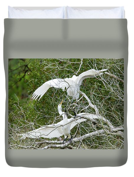 Duvet Cover featuring the photograph Egret Rumble by George Randy Bass