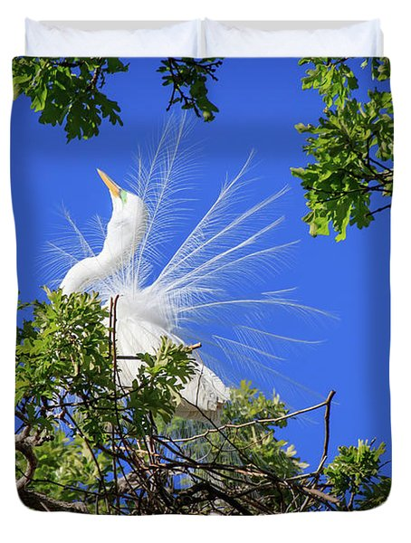 Egret Showing Off Duvet Cover