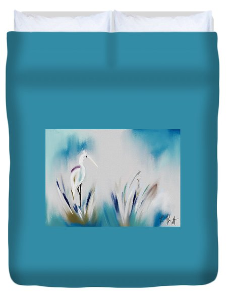 Egret Splash Duvet Cover