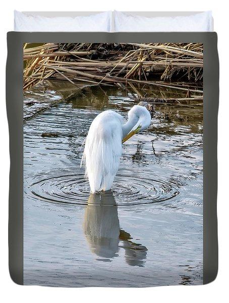 Egret Standing In A Stream Preening Duvet Cover