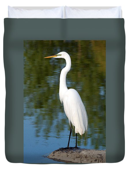 Duvet Cover featuring the photograph Egret Standing by Kathleen Stephens