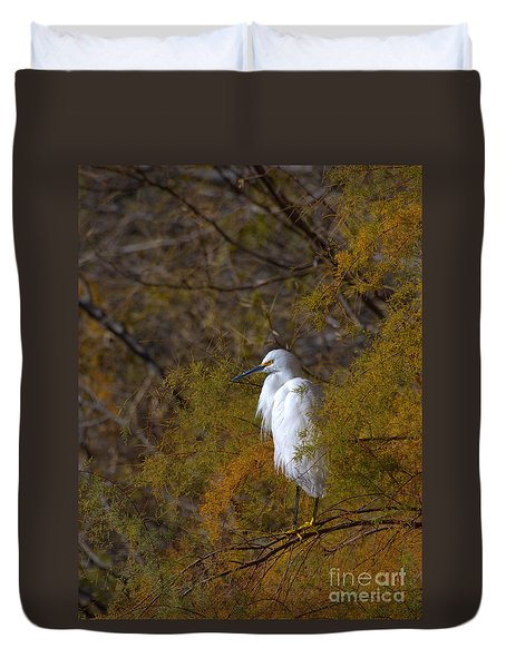 Duvet Cover featuring the photograph Egret Surrounded By Golden Leaves by Ruth Jolly