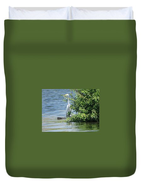 Great Egret In The Marsh Duvet Cover