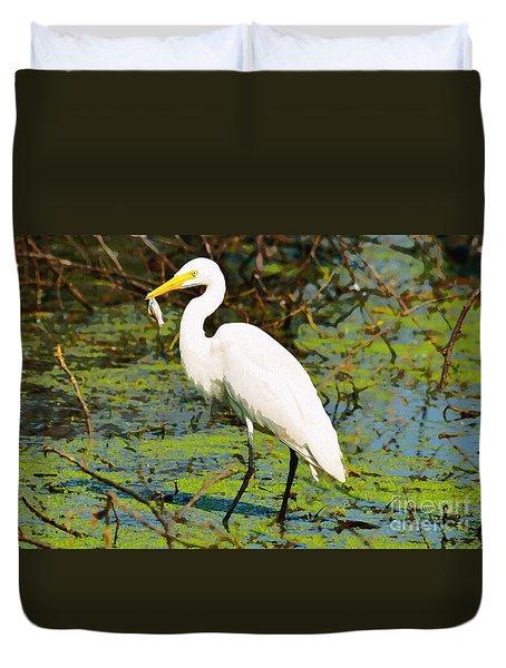 Egret With Fish  Duvet Cover by Manjot Singh Sachdeva