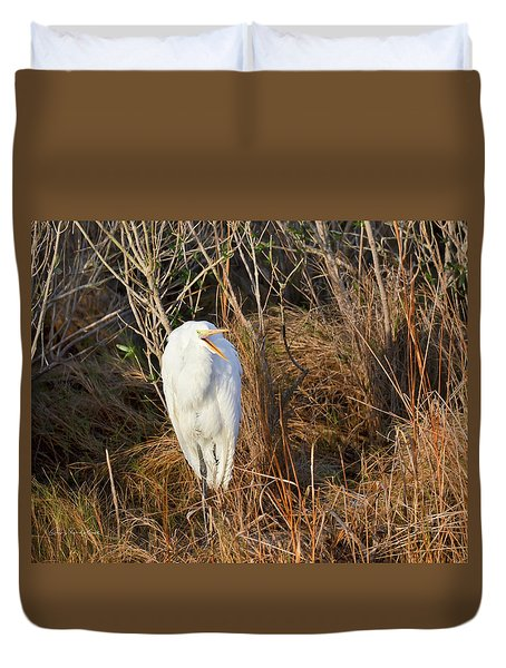 Duvet Cover featuring the photograph Egret With Something To Say by George Randy Bass