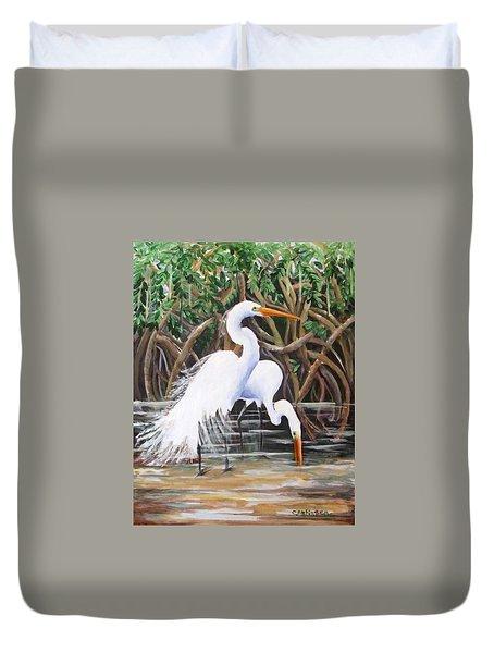 Egrets And Mangroves Duvet Cover