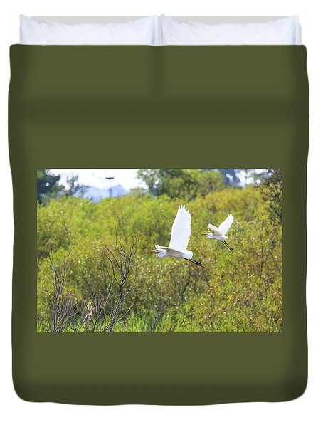 Egrets In Flight Duvet Cover
