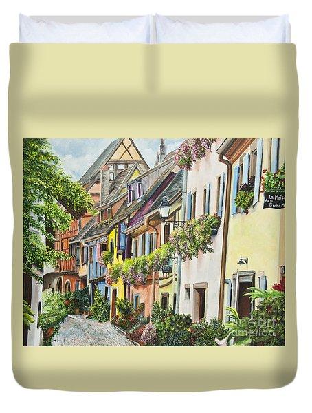 Eguisheim In Bloom Duvet Cover by Charlotte Blanchard