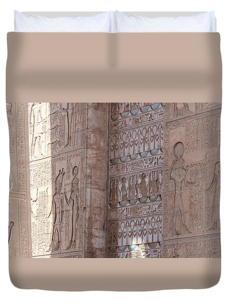 Duvet Cover featuring the photograph Egyptian Hieroglyphs by Silvia Bruno